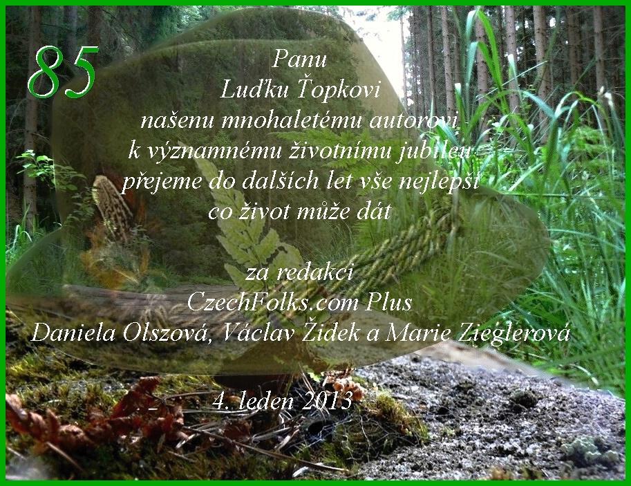 přání k 85 narozeninám CzechFolks.PLUS » Blahopřání k 85. narozeninám Luďka Ťopky přání k 85 narozeninám